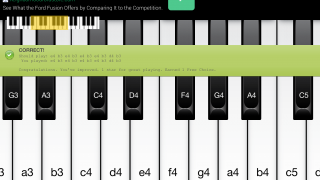 A dialog box pops up after users play each selection, displaying both the correct notes and the user's selections.