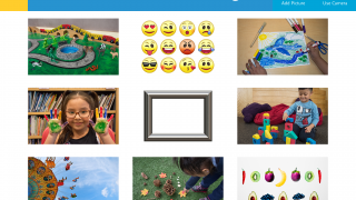 Kids can choose from pre-loaded images or upload their own.
