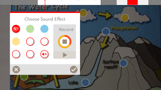 Choose preset sounds or record your own to correspond with different colored dots.