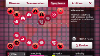"Symptoms page shows various symptoms, such as ""evolved,"" through ""purchase"" with DNA points; see DNA points and disease data statistics at bottom."