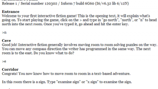 Excellent tutorial game introduces the basics of interactive fiction.