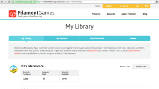 """Logging in takes you to """"My Library;"""" scroll down to find purchased games, coordinating curriculum, and guides."""