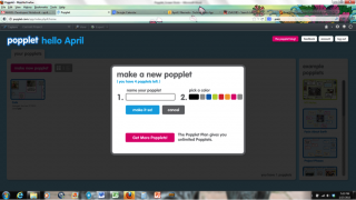 Make a new popplet by clicking the button, then name it and pick a background color.