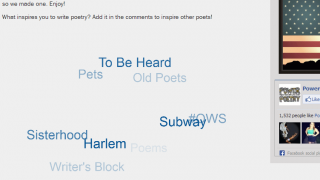 A tag cloud shows some of the most popular poetry subjects on the site.