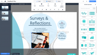 You can add videos, images, charts, text, and more to your Prezis.