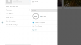 Settings allows toggling of help options, storage monitoring, etc.