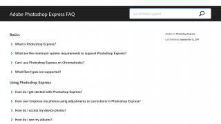 The app links to FAQs and provides access to Adobe Support.
