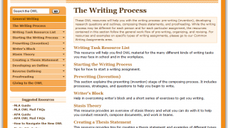 The lab includes a wealth of helpful information about the writing process.