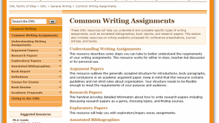 This page offers a useful overview of common writing assignments given to both high school and college students.