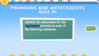 Quiz questions let kids explore pronouns and test their understanding.