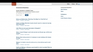 Users can access a list of unanswered questions on the site.