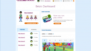 The student dashboard shows lesson progress, your friends list, and more.