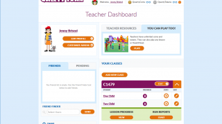 The teacher dashboard gives you access to your class roster, reports, your own friends list, and the ability to play any level in the game.