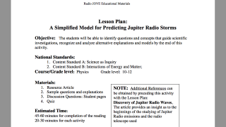 Detailed lesson plans (worksheets and keys included) coordinate with Radio Jove experiences.