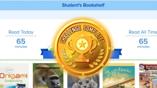 Students see books they've read, total reading time, and achievements.