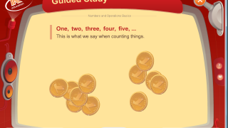 Guided study allows kids to click through various screens to learn the theory behind the math.