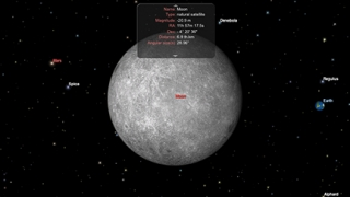 Kids tap to learn details about Earth's moon and other celestial bodies.