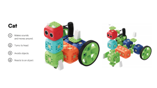 The curriculum, available free on the Robo Wunderkind website, includes a variety of lessons and projects such as building animals.
