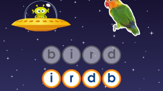 In the beginner levels, kids practice matching letters to build words.