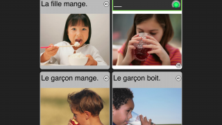 Voice recognition technology lets users practice speaking.