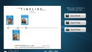 Timelines can be saved in progress; final drafts can be saved to the camera roll.