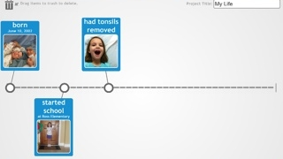 Kids can customize timelines with their own images and text.