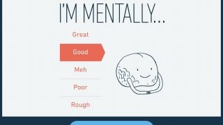 Users can report their current mental and physical states and select up to five adjectives to describe their current feelings.
