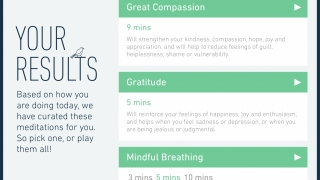 """Based on their selections, users then receive a """"curated list"""" of meditations that address their current state of mind."""