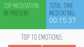 "Users can track their progress, including their top emotions and top meditation, their total time meditating, and their weekly ""settledness""."