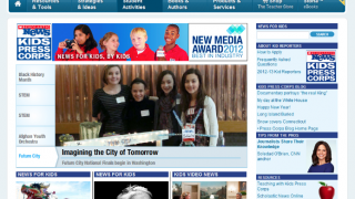 The homepage of Scholastic Kids Press Corps presents news stories by kids, for kids.