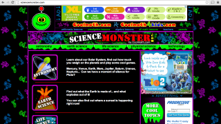Science Monster's homepage provides easy access to content, though on a dizzying background.