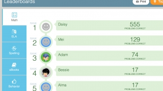 Leaderboards show how kids stack up against each other in each learning topic.