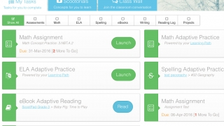 Kids' view when they sign in. Click on an assignment, assessment, or tutorial to get started.