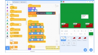 The program builds much of the Scratch code for students based on the model they've trained.