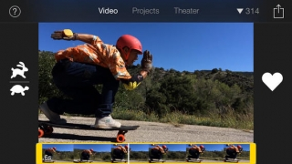 Watch full-screen footage in Video mode; speed up or slow down video, then click heart to save in favorites.
