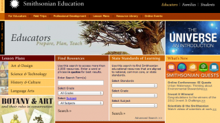 The Educators section features browsable lesson plans.