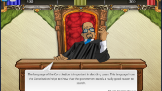 The judge guides players and emphasizes important aspects of the case.