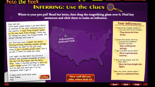 A lesson on inferring is interactive, with highlighting, a map, and gathered clues.