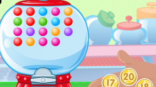 Gobs of Gumballs: Count the number of gumballs in the machine and select the corresponding coin value.