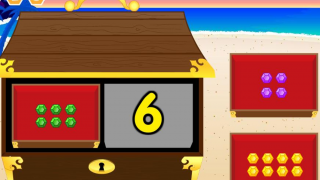 Pirate Loot: Match the picture with the corresponding number of jewels to the treasure chest value.