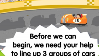 Number Racers: Fill in the gaps in the race car line up with the correct cars.