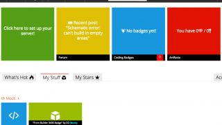 On the main page, students can maintain their Minecraft server, complete quests, earn badges, or access the forum.