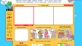 The comic creation screen, where students can choose from a variety of diverse characters and situations