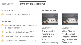 Support material such as lesson plans and handouts are often included with videos.