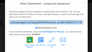 Share widgets through Google Classroom, links, or email.