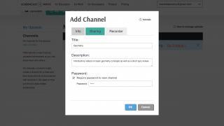 If desired, you can create channels to organize different videos.