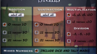 Kids can choose which operations and ranges of numbers are used in the game, to create an appropriate level of challenge.