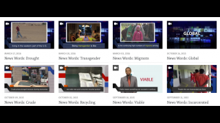 Vocabulary drawn from current news topics is explained through brief videos with captions.