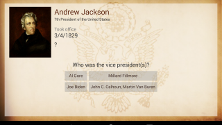 In the quizzes, users pick the right answer to match the president displayed on screen.