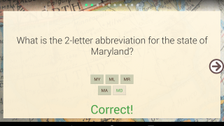 Ten-question quizzes test info drawn randomly from the flashcards; colored dots at the top of the screen track right and wrong answers.